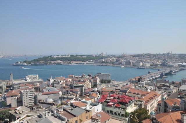 Blick auf das Goldene Horn mit Topkapı-Palast und Hagia Sofia