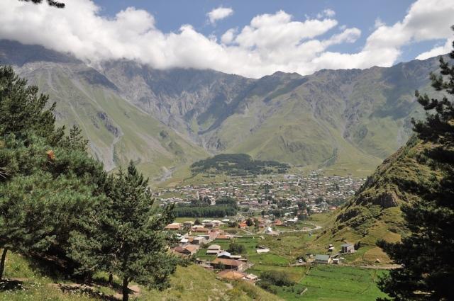 Blick auf das Dorf Kazbeki