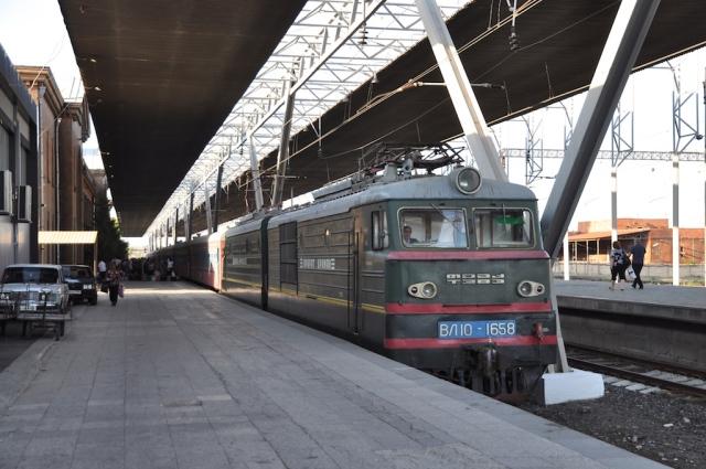 Ankunft unseres Nachtzugs in Yerevan aus Tbilisi