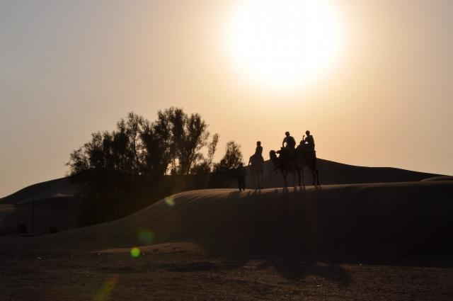 Wüstenexpedition mit dem Kamel im Iran bei angenehmen 43 Grad südlich von Yazd.