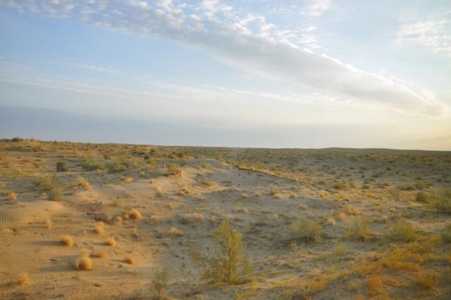 Fahrt durch die Karakumwüste, die 95 % des Landes ausmacht